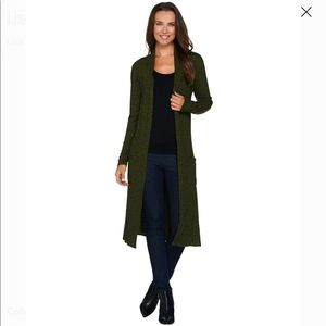 Lisa Rinna Army Green Open Front Cardigan Sz PM